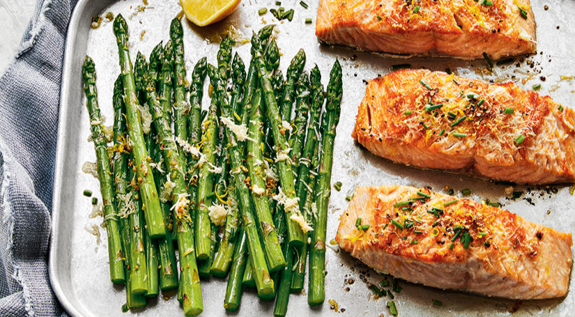Garlicky Parmesan Salmon and Asparagus